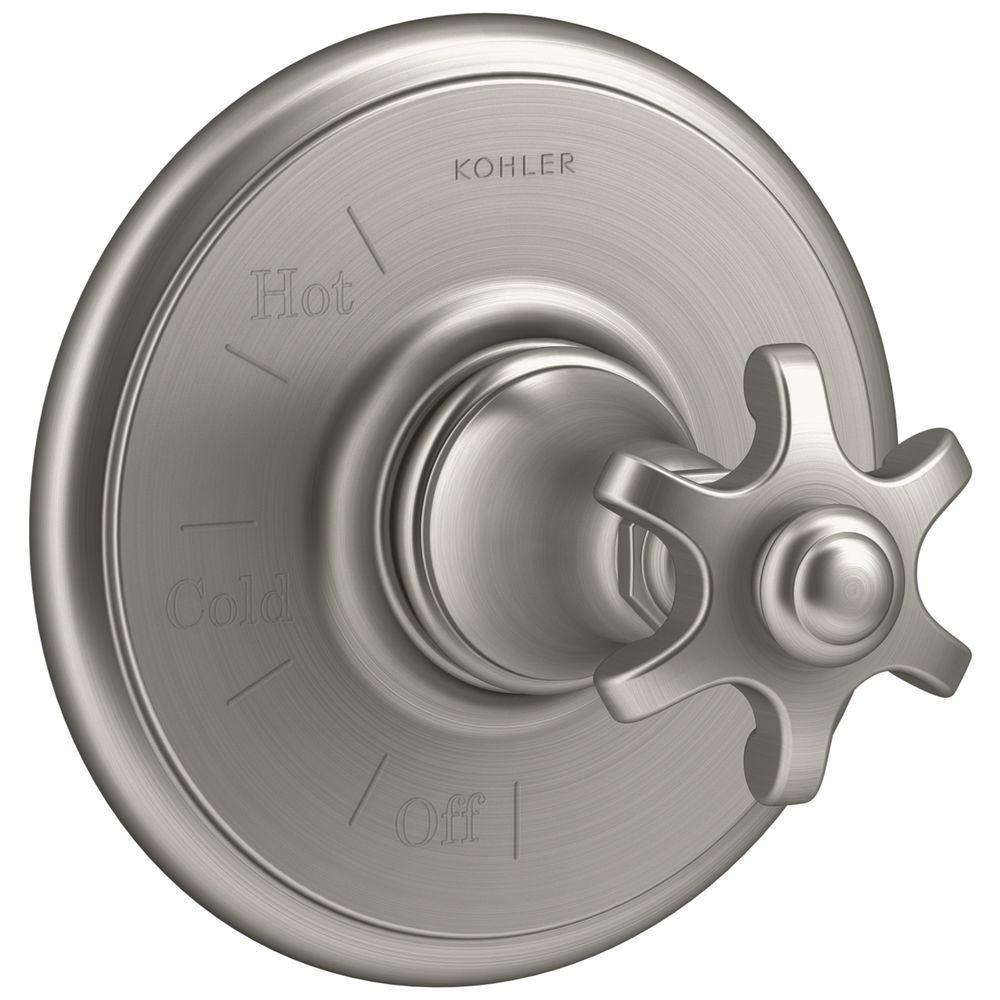 KOHLER Artifacts Prong 1-Handle Rite-Temp Pressure Balancing Valve Trim Kit in Vibrant Brushed Nickel (Valve Not Included)