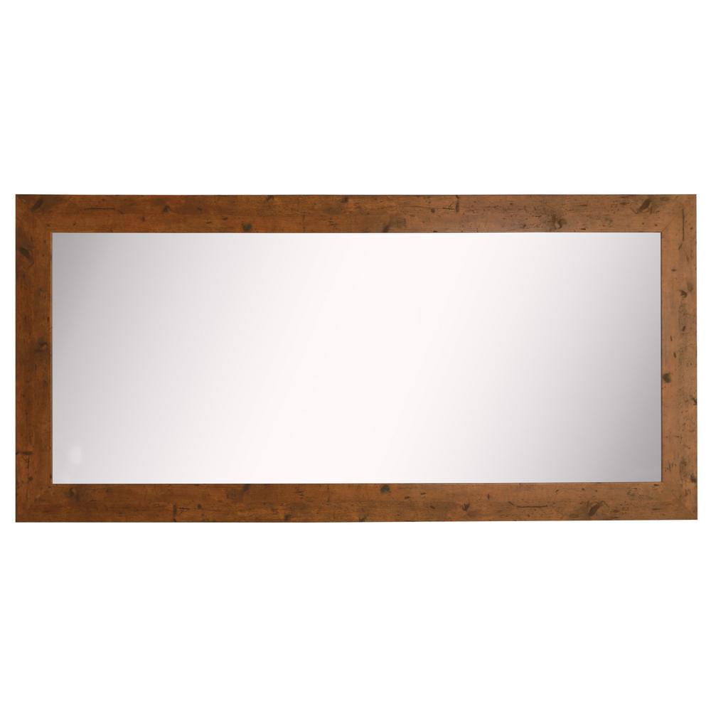 34 in. W x 67 in. H Framed Rectangular Bathroom Vanity Mirror in Light Brown