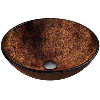 Russet Handmade Countertop Glass Round Vessel Bathroom Sink in Gold and Brown Fusion