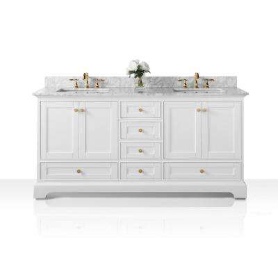 Audrey 72 in. W x 22 in. D Bath Vanity in White with Marble Vanity Top in White with White Basins