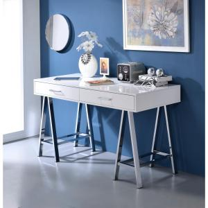 Acme Furniture Coleen White and Chrome Writing Desk with Storage by Acme Furniture