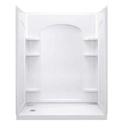 Ensemble 32 in. x 60 in. x 74-1/2 in. Shower Kit with Age-in-Place Backers in White