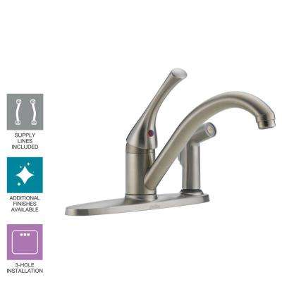 Classic Single-Handle Standard Kitchen Faucet with Side Sprayer in Stainless