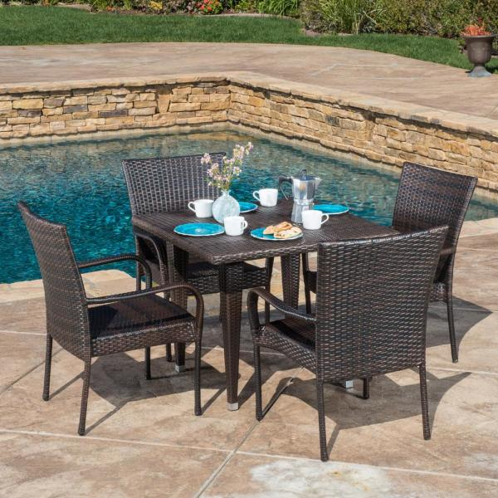 Delani Multi-Brown 5-Piece Wicker Outdoor Dining Set