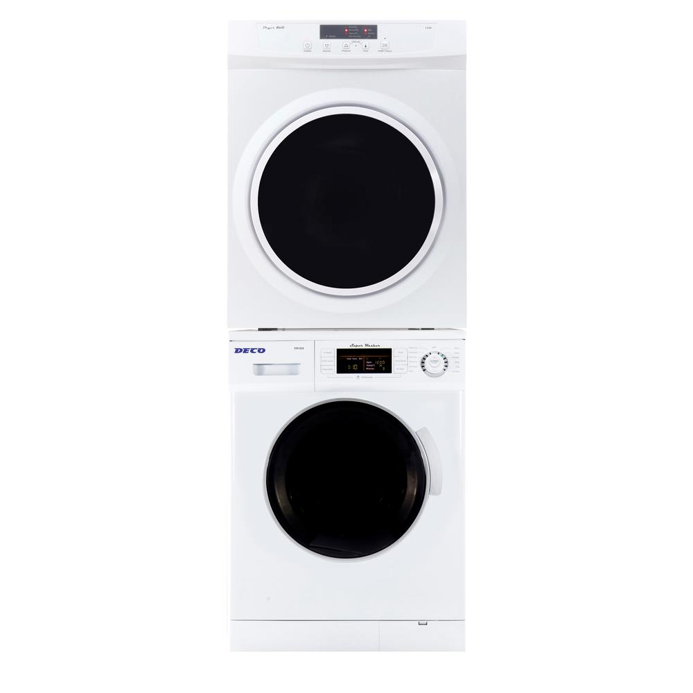 Deco Super Washer And Compact Standard Dryer Set In White