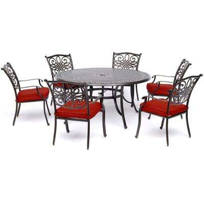 Traditions 7-Piece Aluminum Outdoor Dining Set with Red Cushions and Cast-Top Table