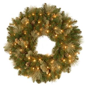 Carolina Pine 24 in. Artificial Wreath with Clear Lights