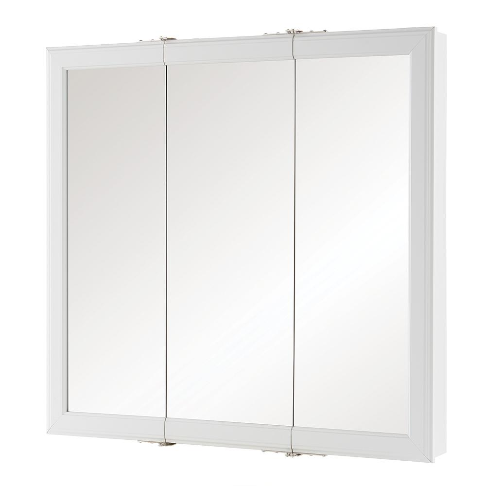 Home Decorators Collection 30 In W X 29 H Fog Free Framed Surface Mount Tri View Bathroom Medicine Cabinet White