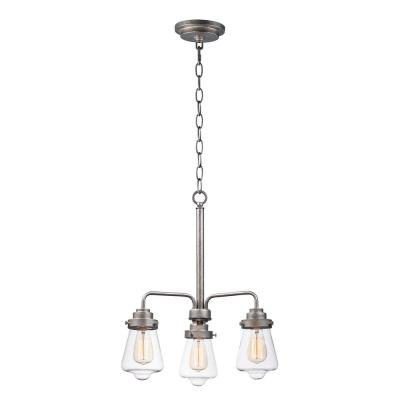 Cape Cod 21 in. W 3-Light Weathered Zinc Chandelier with Clear Shade