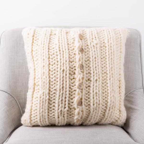 18 in. L x 18 in. W Ivory Handmade Acrylic Cable Knit Pillow Cover