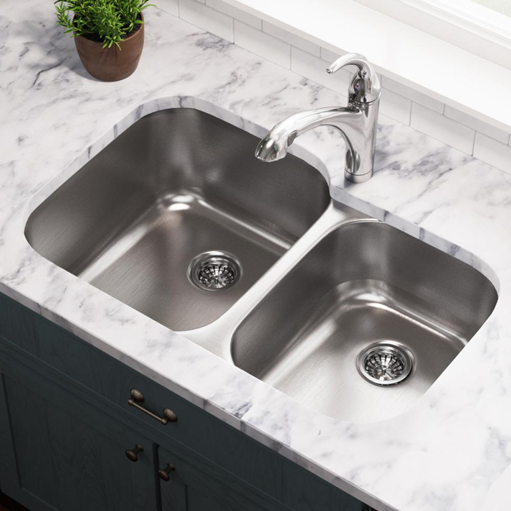 MR Direct Undermount Stainless Steel 32 in. Double Bowl Kitchen Sink