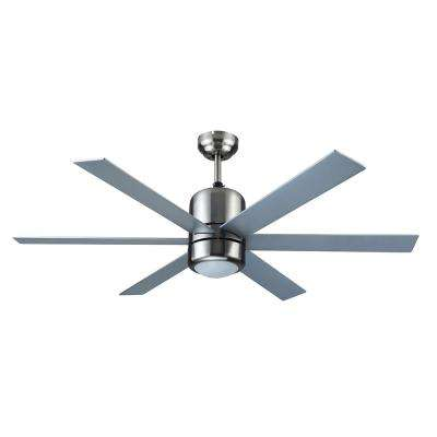 Indus Sol 48 in. Indoor Satin Nickel Ceiling Fan with Light