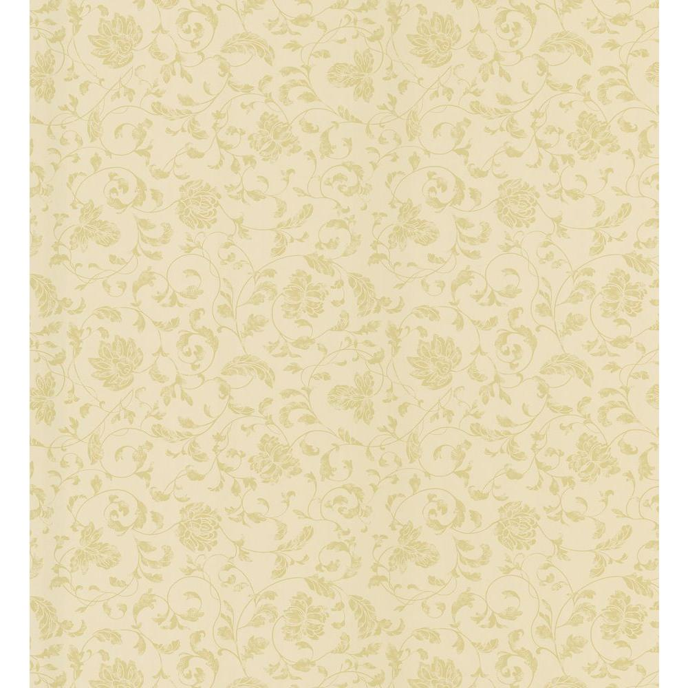 Brewster cottage living gold jacobean stencil wallpaper for Wallpaper samples