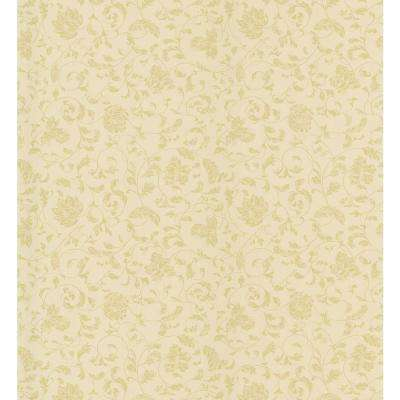 Cottage Living Gold Jacobean Stencil Wallpaper Sample