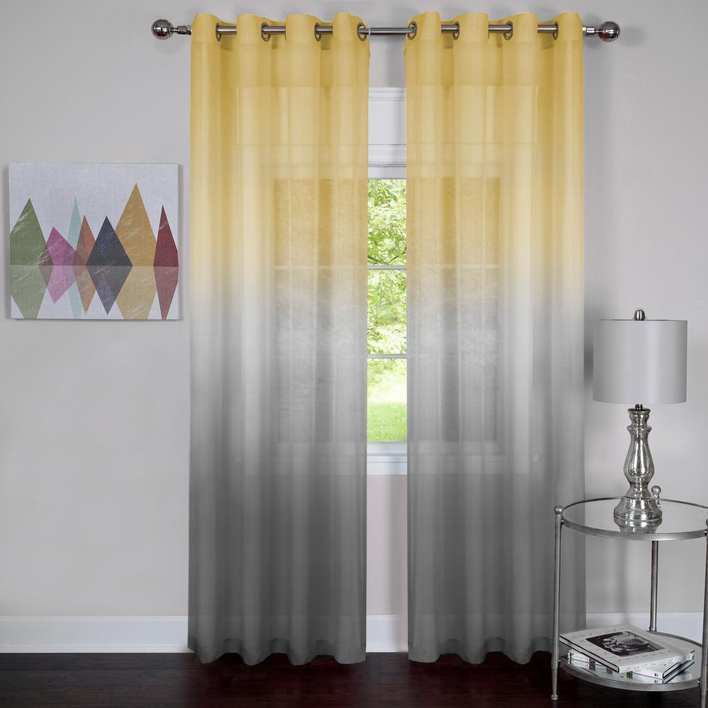 Sheer Rainbow 63 in. L Single Grommet Window Curtain Panel Grey