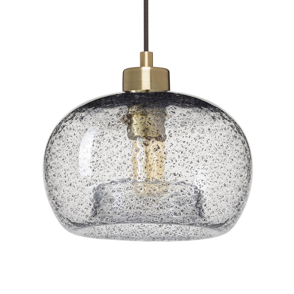 Casamotion 9 In W X 6 H 1 Light Br Rustic Seeded Hand N Gl Pendant With Clear Shade