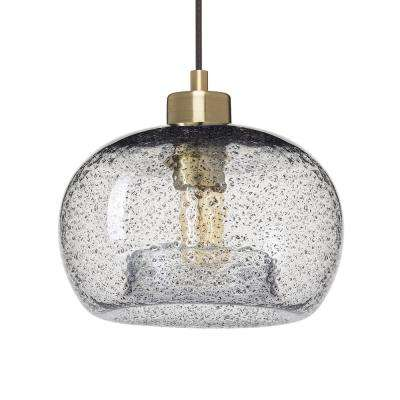 9 in. W x 6 in. H 1-Light Brass Rustic Seeded Hand Blown Glass Pendant Light with Clear Glass Shade