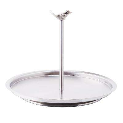 Churp Single Tier Stainless Steel Serving Tray with Bird Knob