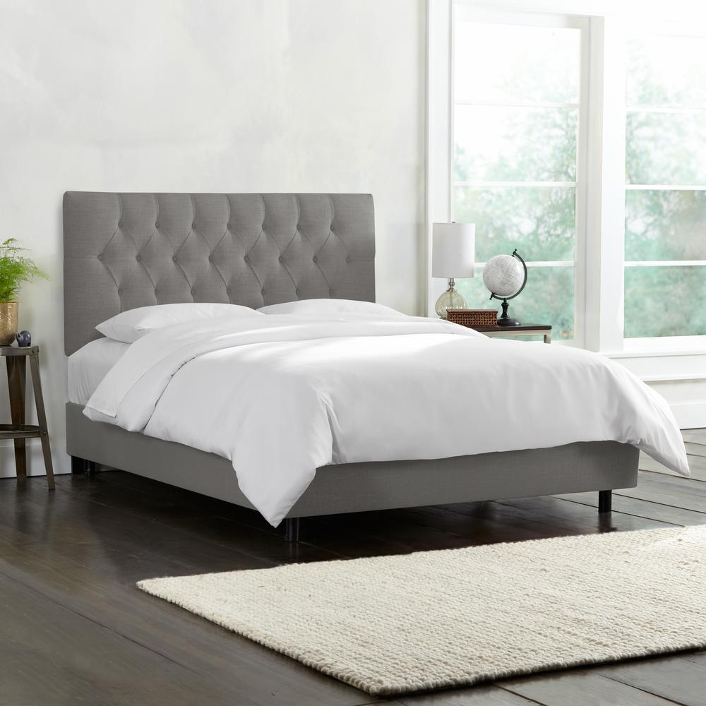 Tufted Bedroom: Linen Grey Full Diamond Tufted Bed-541BEDLNNGR