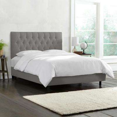 linen grey california king diamond tufted bed