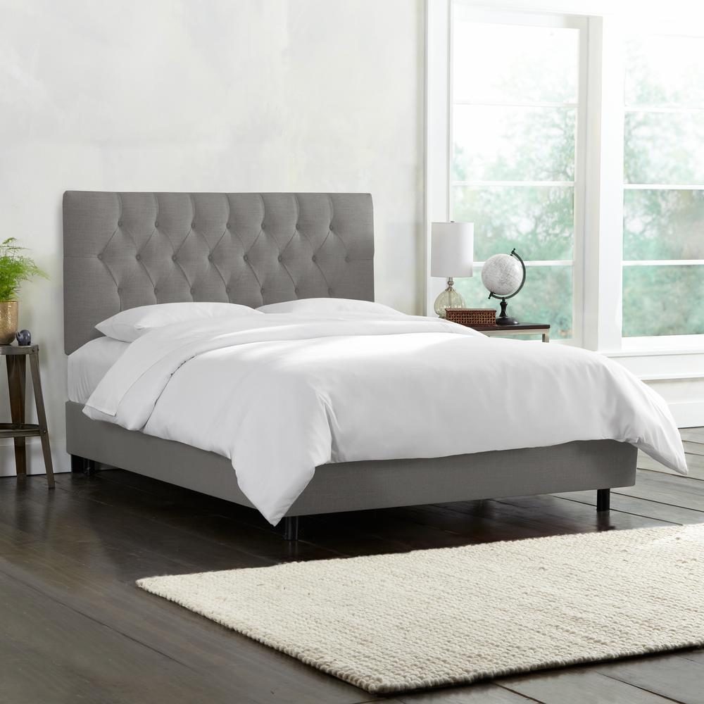linen grey california king diamond tufted bed