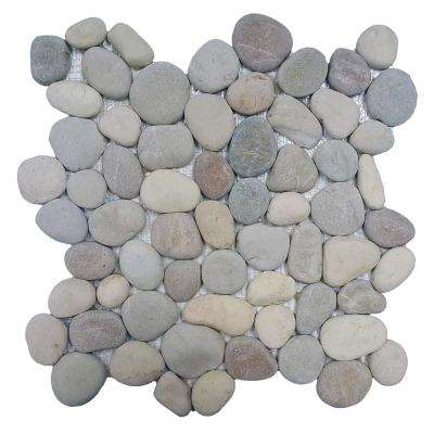 River Rock Terrene Blend 12 in. x 12 in. x 12.7 mm Natural Stone Pebble Mosaic Floor and Wall Tile (10 sq. ft. / case)