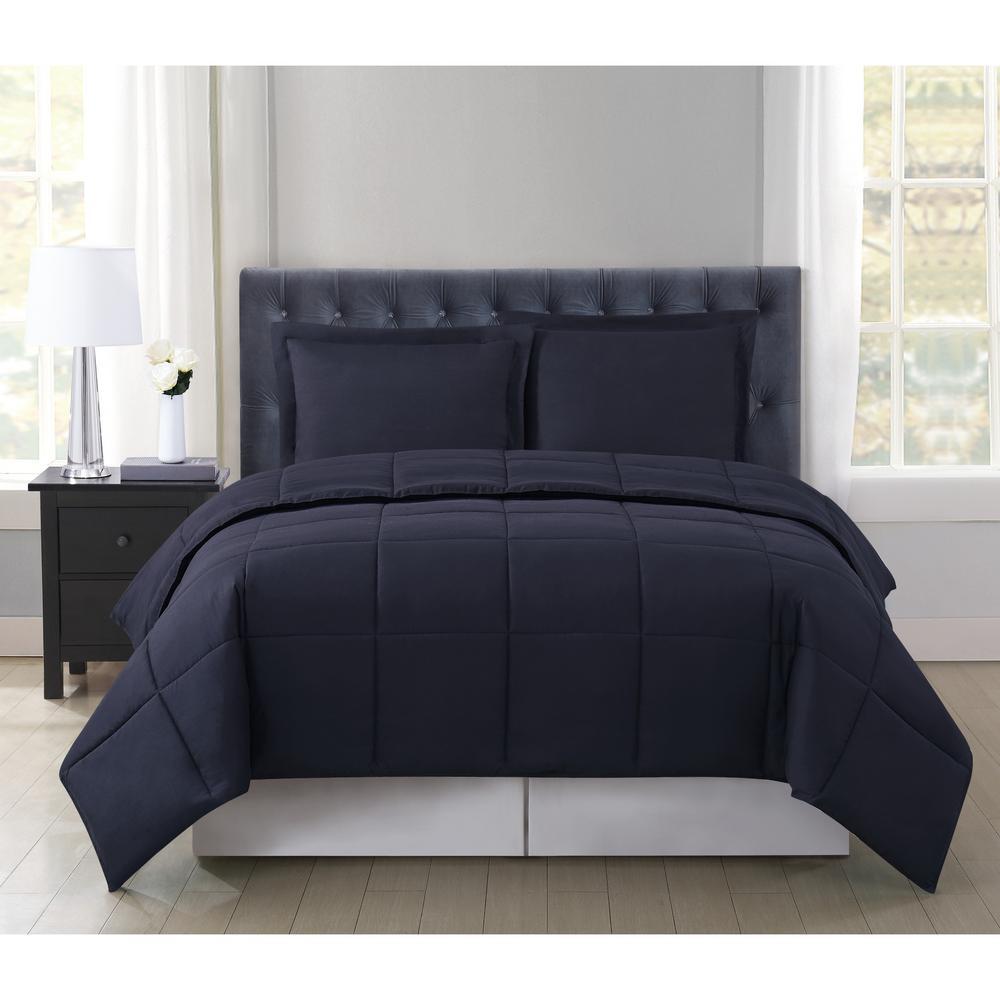 Everyday Reversible 3-Piece Black Full/Queen Comforter Set