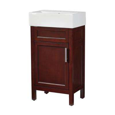 Arvesen 18 in. W x 12 in. D Bath Vanity in Tobacco with Vitreous China Vanity Top in White