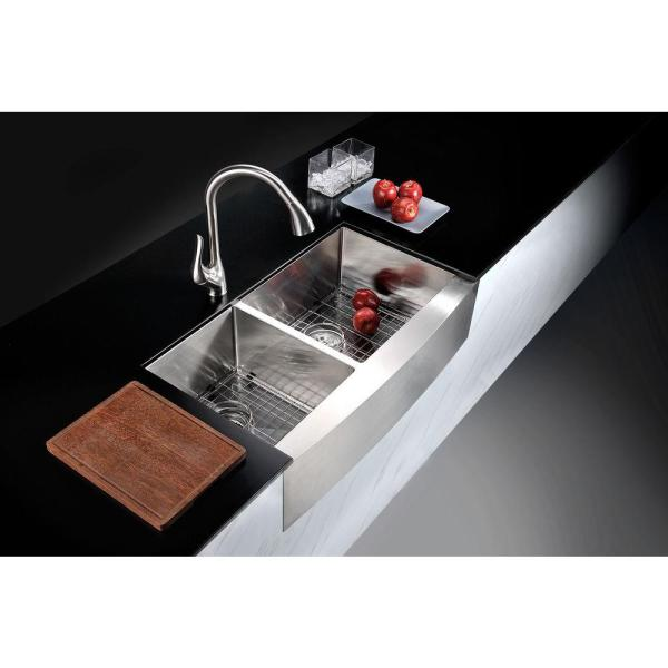 Anzzi Elysian Series Farmhouse Stainless Steel 33 In 0 Hole Double Bowl Kitchen Sink K Az3320 4b The Home Depot