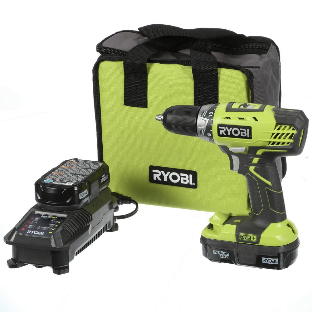 Ryobi Power Drill 18-Volt ONE+ Cordless Lithium-Ion Compact Drill/Driver Kit