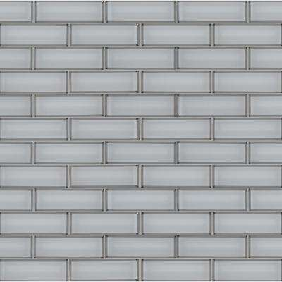 11.73 in. x 11.73 in. x 8 mm Ice Bevel Textured Subway Glass Mesh-Mounted Mosaic Tile (0.96 sq. ft.)