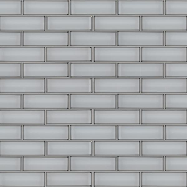 Ice Bevel Textured 11.73 in. x 11.73 in. x 8 mm Subway Glass Mesh-Mounted Mosaic Tile (0.96 sq. ft.)