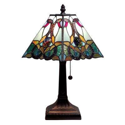 15 in. Multicolored Tiffany Style Floral Mission Table Lamp