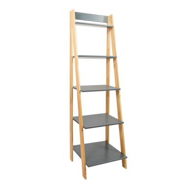 62.2 in. Natural/Gray Wood 5-shelf Ladder Bookcase with Open Back