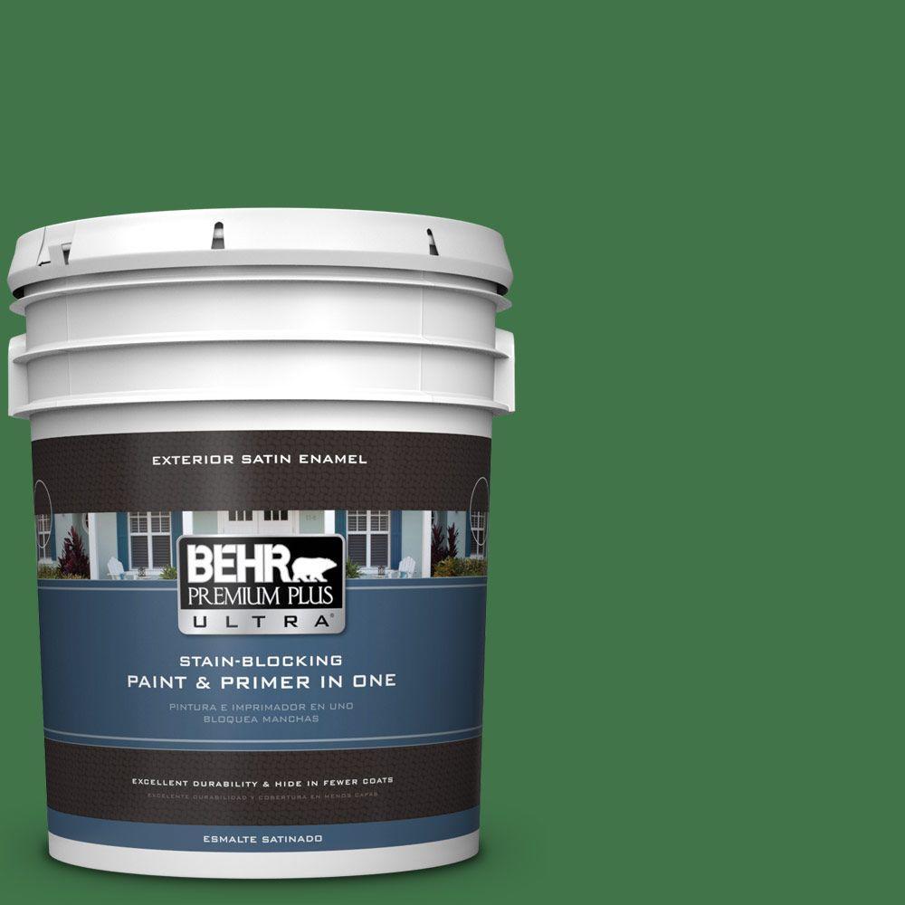 BEHR Premium Plus Ultra 5-gal. #P410-7 Grasslands Satin Enamel Exterior Paint