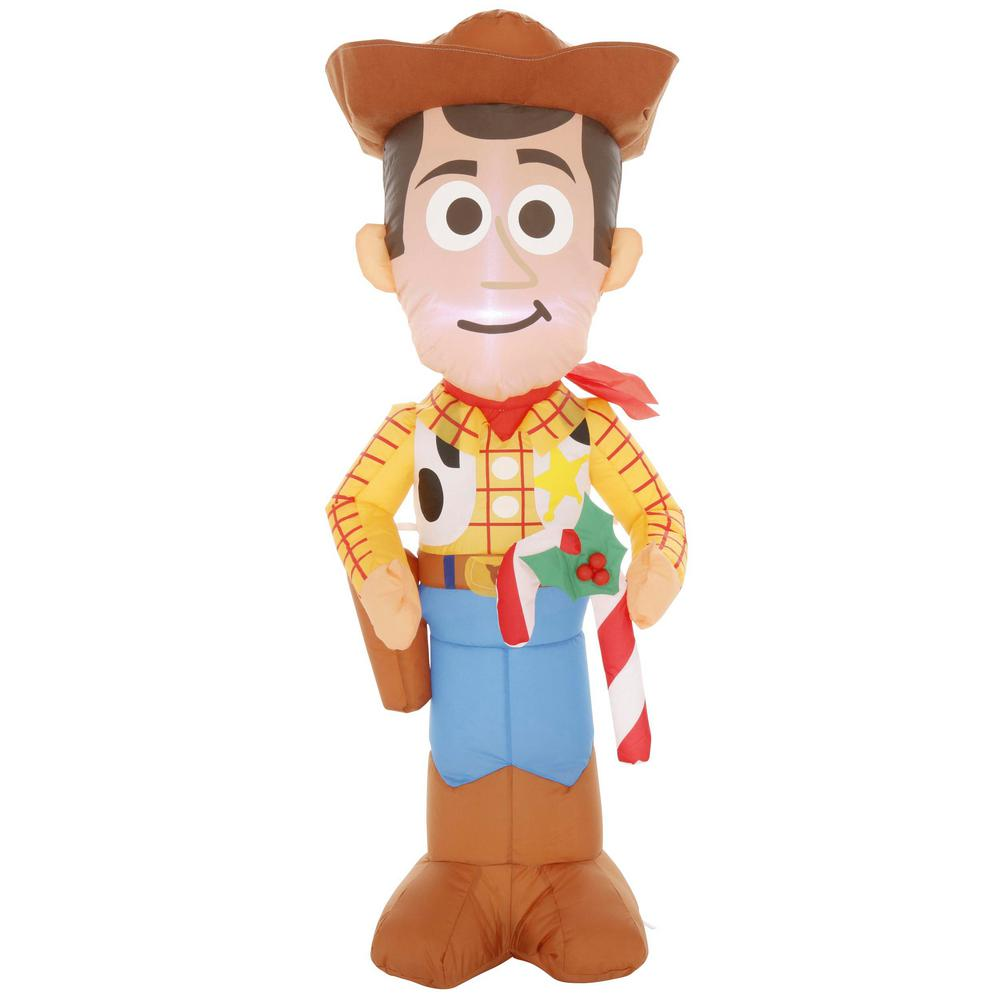 Disney Disney 3.5 ft. Pre-lit Inflatable Airblown Woody with Candy Cane