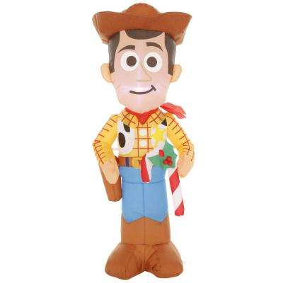 3.5 ft. Pre-lit Inflatable Airblown Woody with Candy Cane
