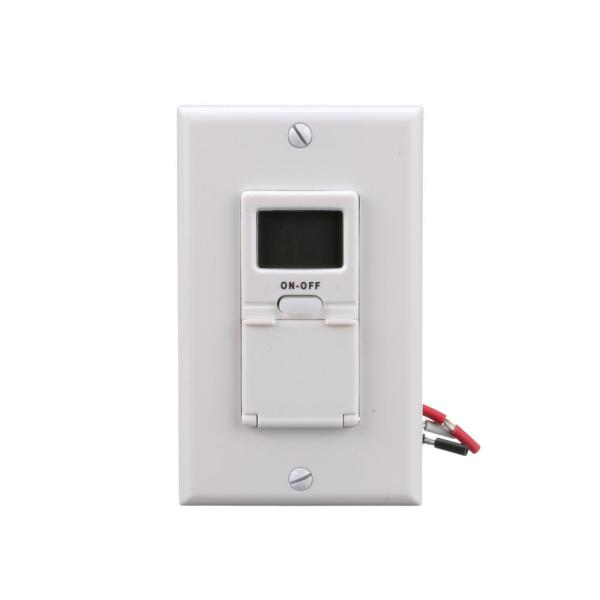 15-Amp 7-Day In-Wall Programmable Digital Timer Switch, White