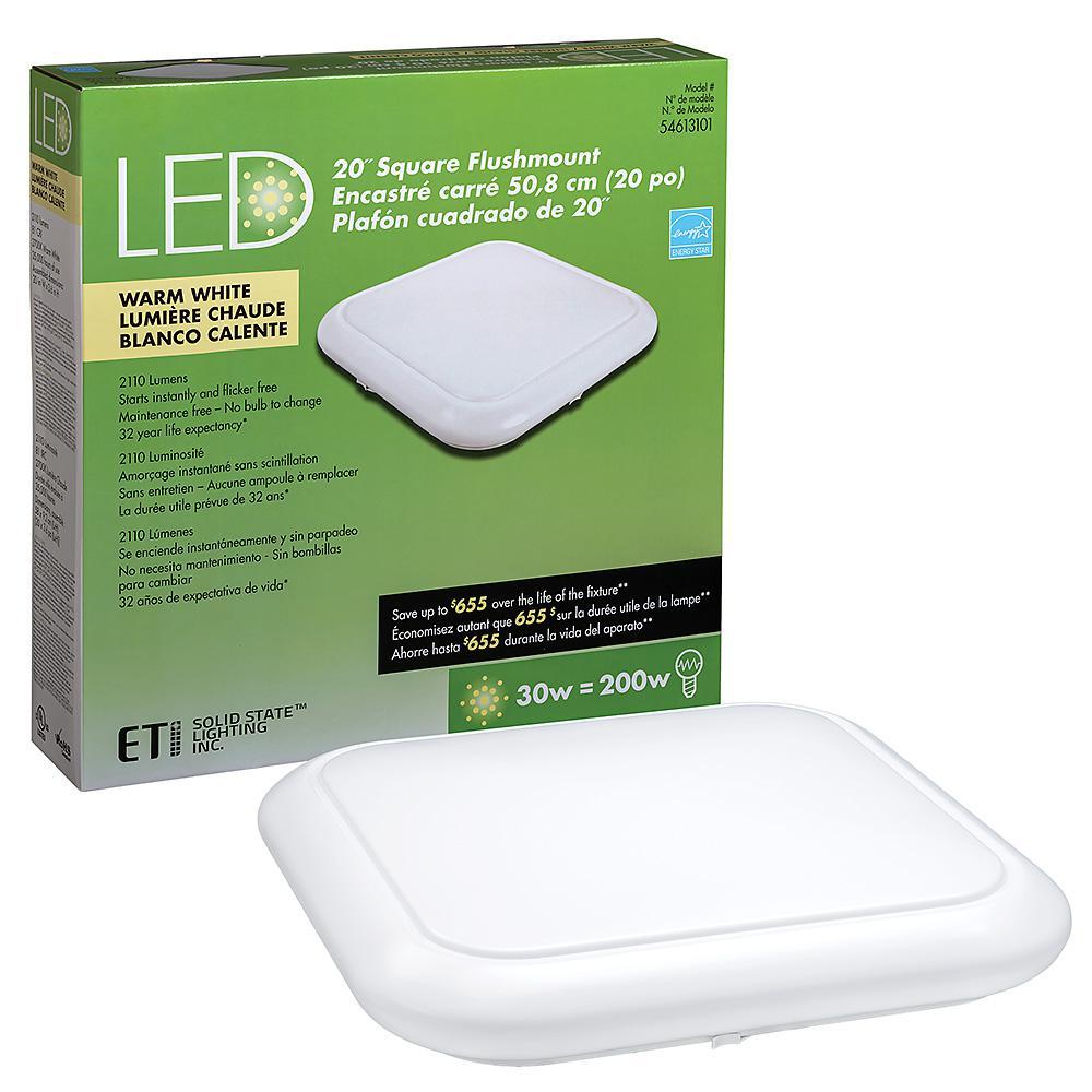 20 in. White Square LED Flush Mount Ceiling Light Pantry Laundry Closet Light 2110 Lumens 2700K Warm White Dimmable
