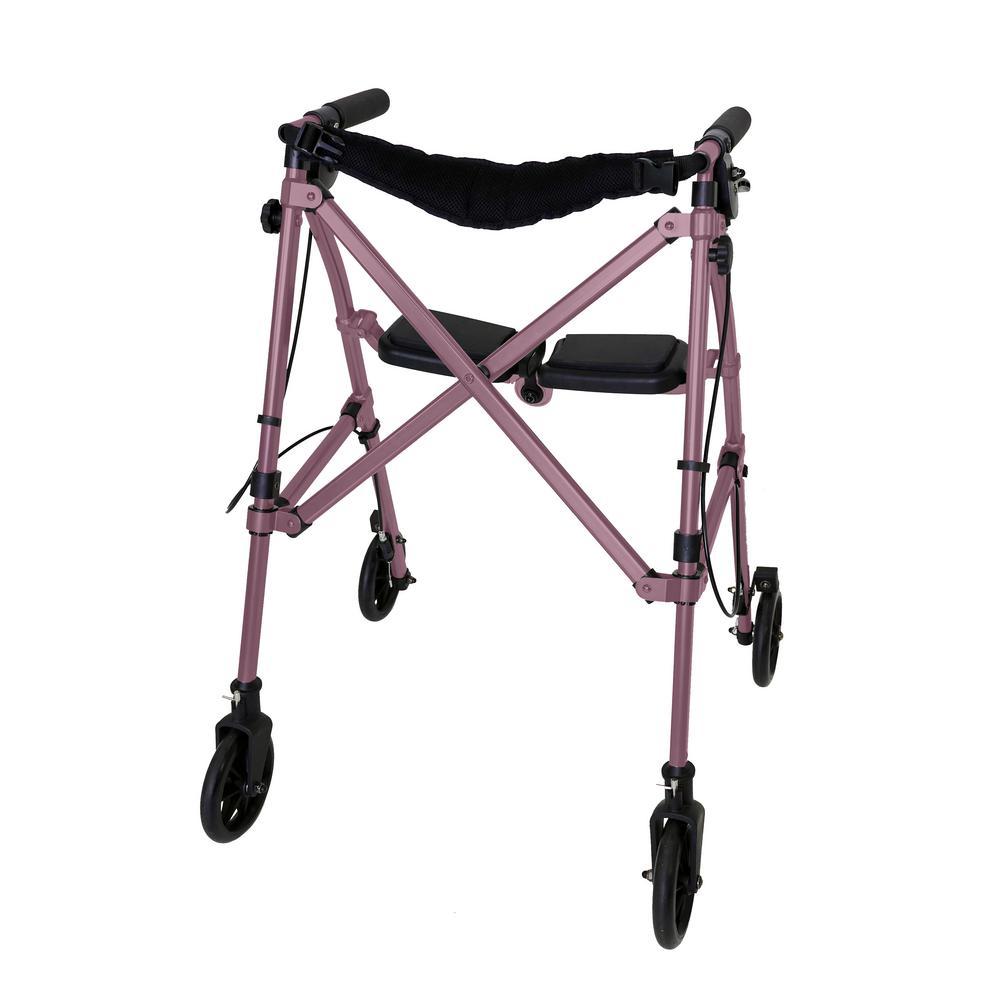 4-Wheel Space Saver Folding Travel Walking Aid Walker Rollator in Regal Rose