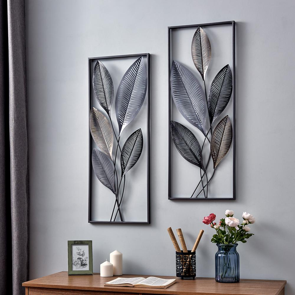 FirsTime & Co. 35.5 in. x 14 in. Metallic Leaves Wall Decor Set, Antique Gold/Antique Silver/Black was $74.75 now $42.13 (44.0% off)