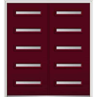 72 in. x 80 in. Davina Right-Hand Inswing 5-Lite Clear Low-E Painted Fiberglass Smooth Prehung Front Door