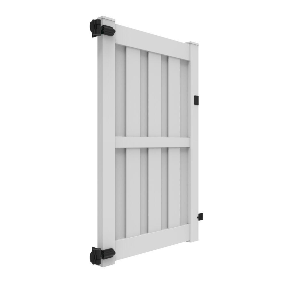 Palisade 4 ft. x 6 ft. White Vinyl Shadowbox Fence Gate Kit