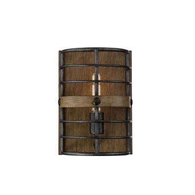 1-Light Provincial Wood with Ebony Sconce