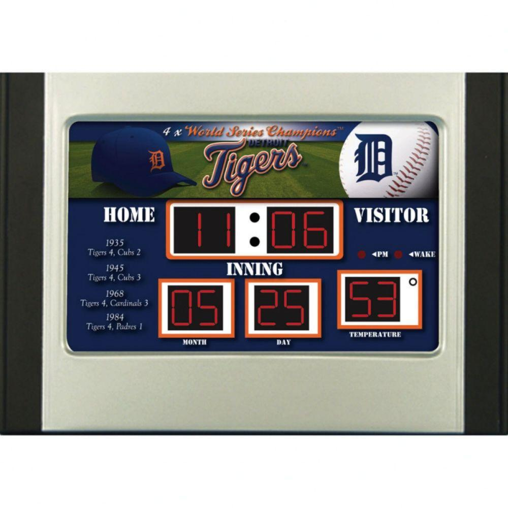 null Detroit Tigers 6.5 in. x 9 in. Scoreboard Alarm Clock with Temperature