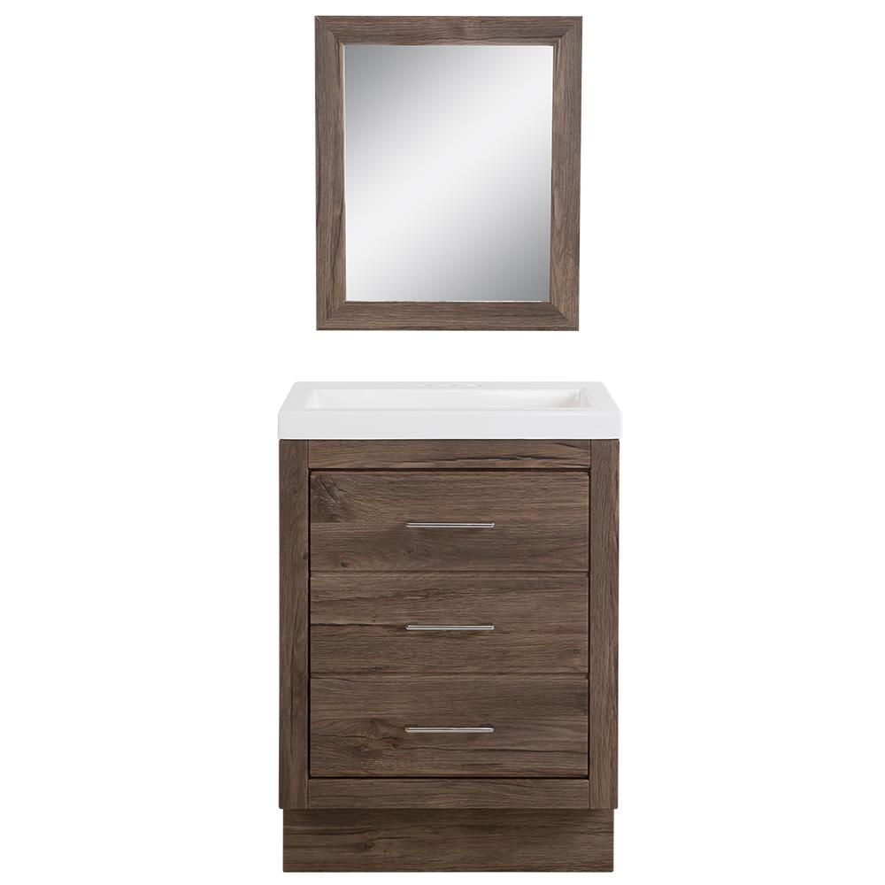 Collinswood 24 in. W Bath Vanity in Vintage Oak with Cultured Marble Vanity Top in White with White Sink and Mirror