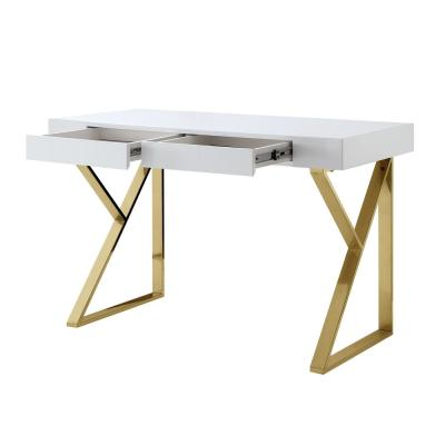 Biaochi White/Gold Desk with 2-Drawers