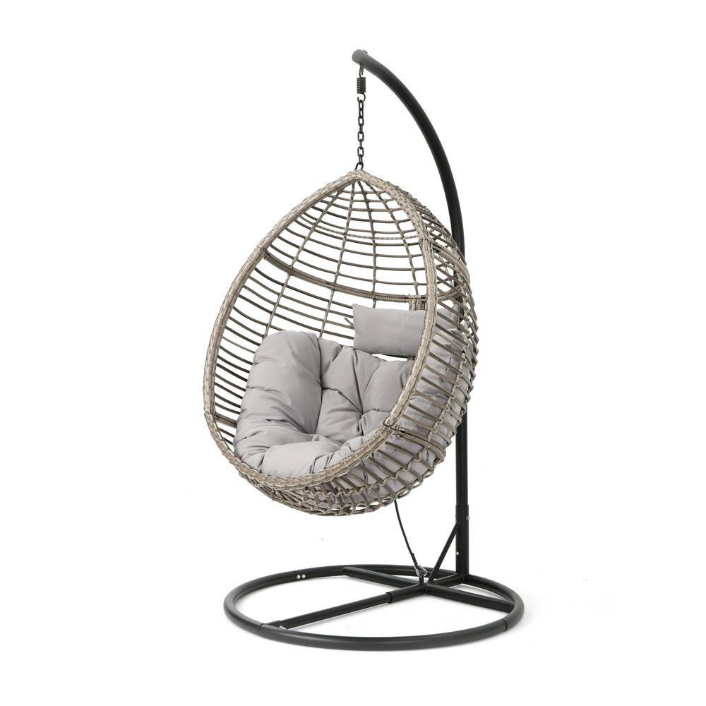 Noble House Black Steel Egg Shaped Patio Swing With Gray Cushion