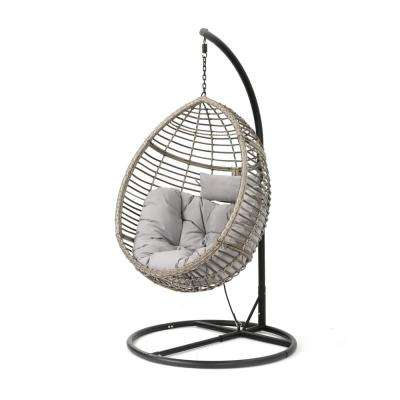Black Steel Egg-Shaped Patio Swing with Gray Cushion