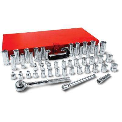 3/8 in. Drive 6-Point Standard & Metric Hand Socket & Accessories Set (48-Piece)